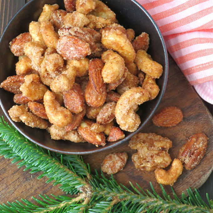 garlic zest sweet and spicy holiday nuts