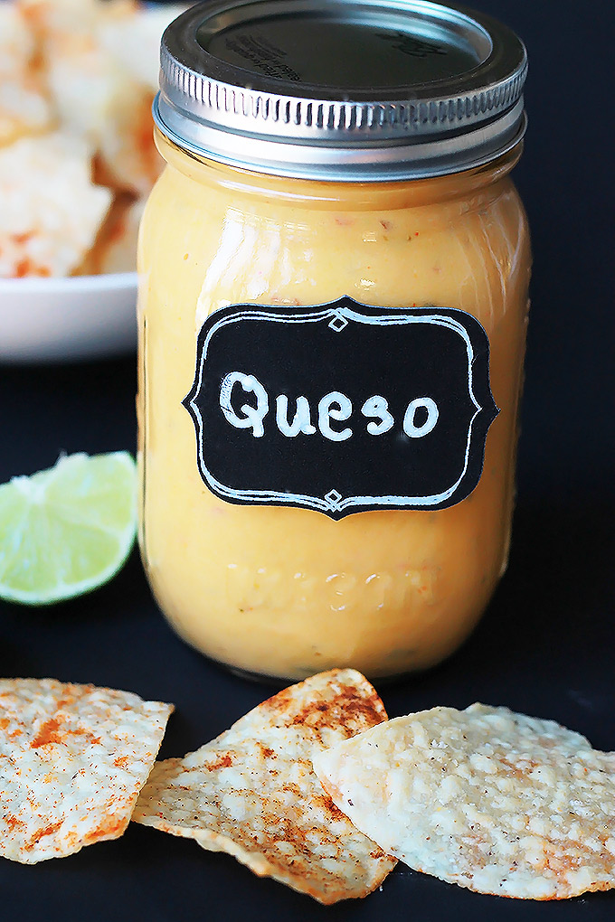 Vegan Queso with Spiced Tortilla Chips - Smooth, creamy and oh-so-delicious, you just might forget it's not real cheese.