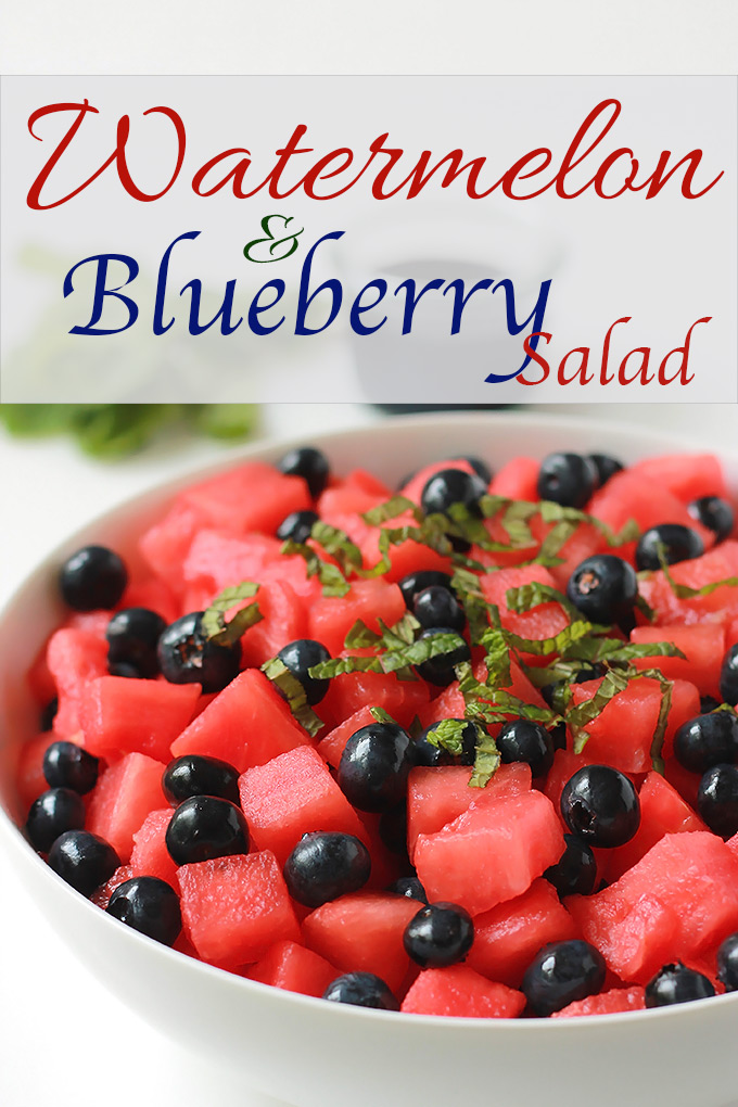 Watermelon and bluberry, perfect summer salad.