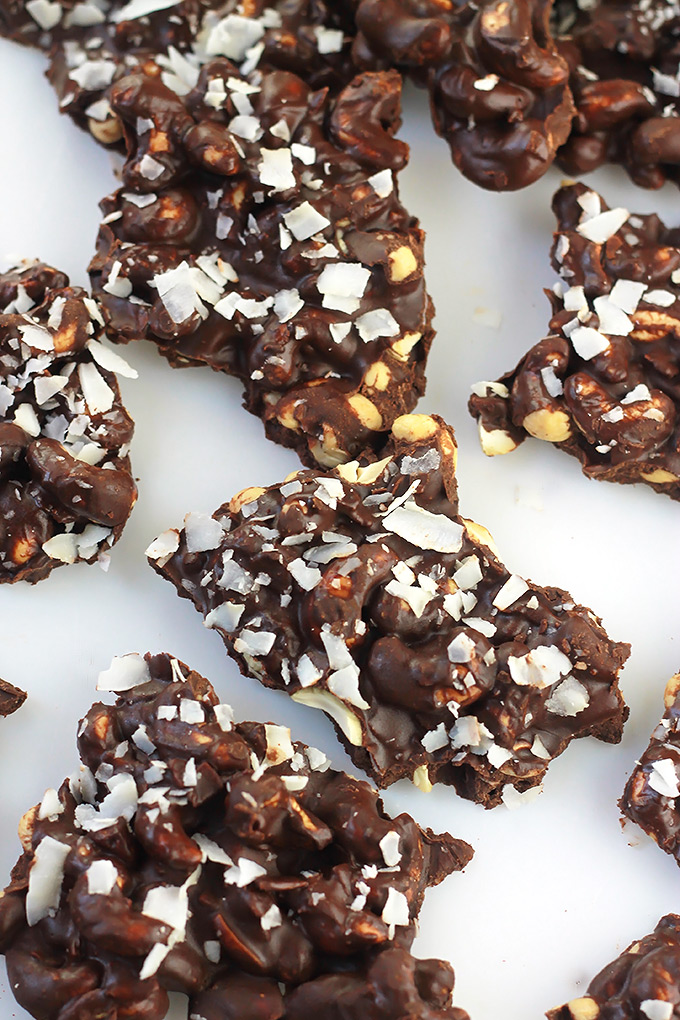 Chili Chocolate Bark, cashews, dark chocolate and coconut combine with a spicy kick!