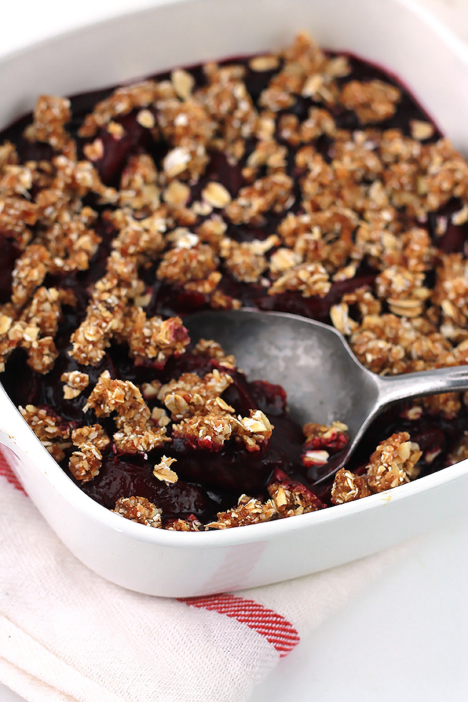 Sweet, tart and no oven needed for this beautiful No Bake Blueberry Plum Crumble.