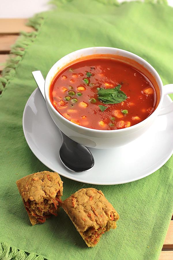 Savory Carrot Corn Muffuns with Soup