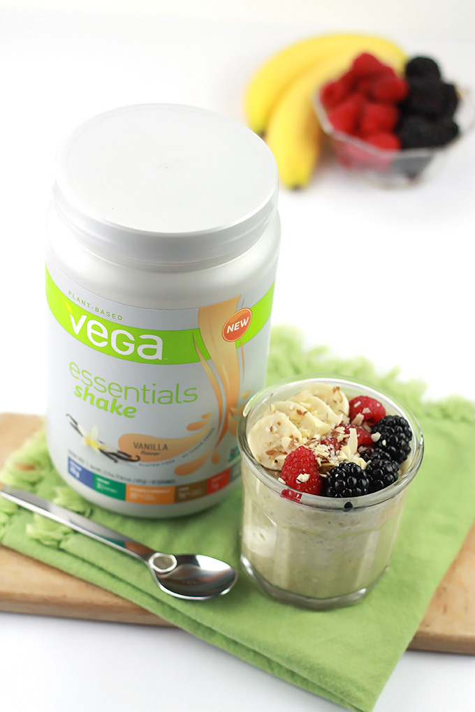 Vanilla Protein Overnight Oats- Packed with plant-based protein from Vega Essentials with no added sugar.