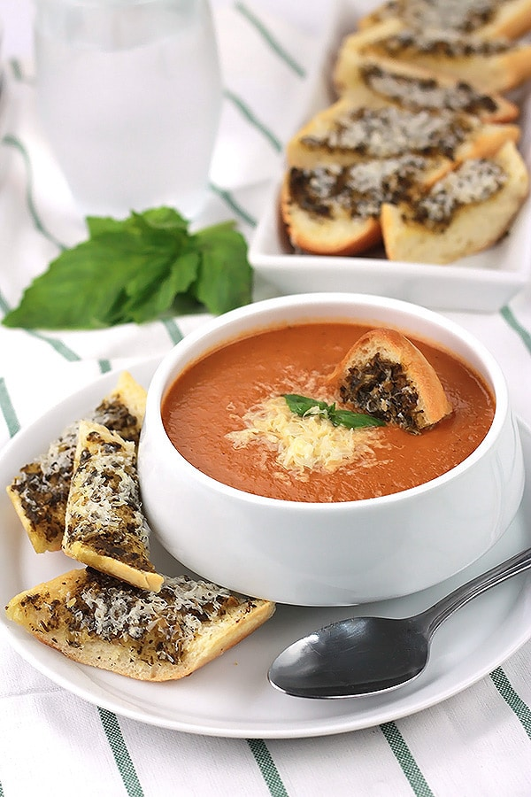 Creamy Tomato Basil Soup with hidden ingredients to give your family extra servings of veggies.