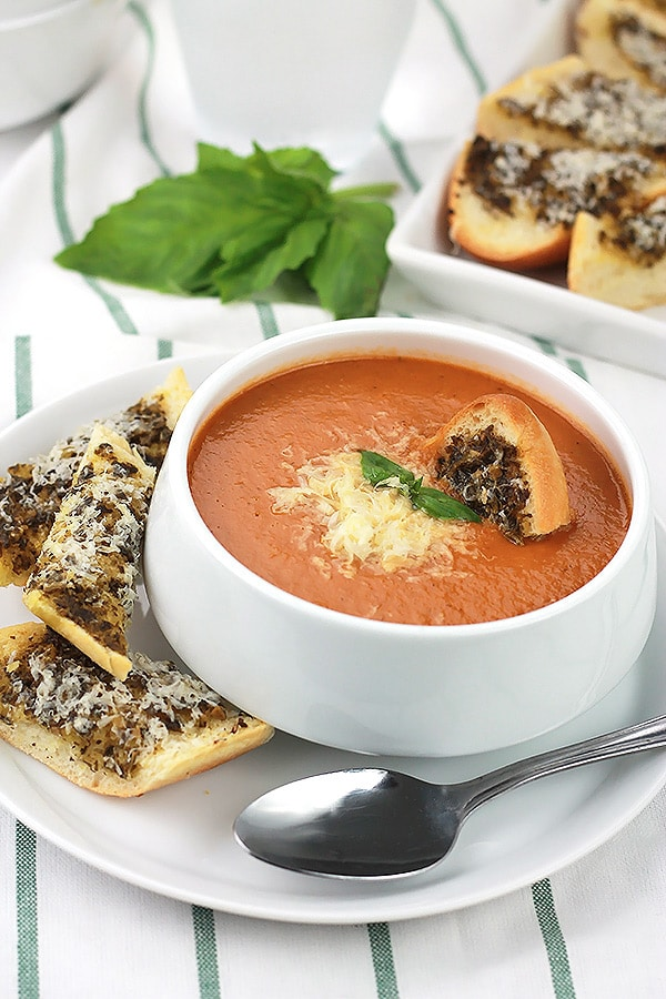 Creamy Tomato Basil Soup with a hidden ingredient to give your family an extra serving of veggies.