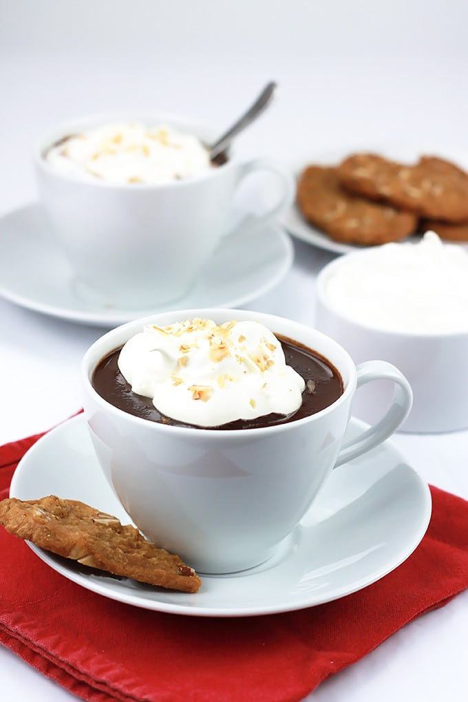 Cozy up with a cup of Decadent Dairy-Free Hot Chocolate topped with creamy coconut cream and toasted coconut.