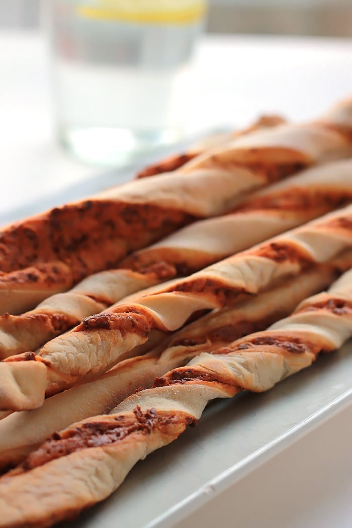 Crispy on the outside, soft, chewy and filled with flavor on the inside. Chorizo Twisted Breadsticks can be served as an appetizer or as a side to a big salad.