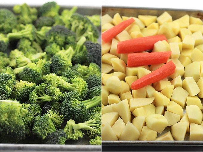 Pan of broccoli on the left and pan of potatoes and carrots on the right.