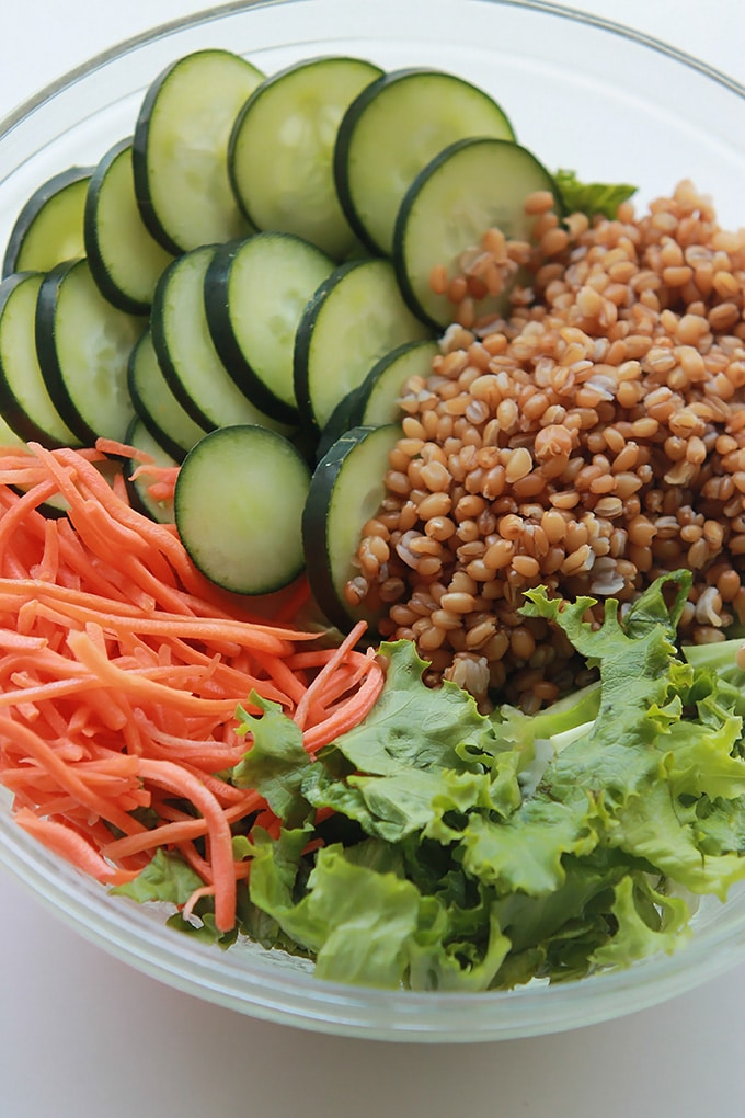 Energizing, satisfying Asian Wheat Berry Salad - Make it for dinner, save some for lunch.
