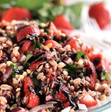 The tender bite of Farro, sweetness of Strawberries and the earthiness of fresh basil makes this Strawberry Basil Farro Salad the perfect combination of sweet and savory.