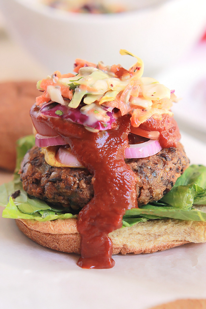 Simply delicious and full of flavor, you have to give this Black Bean Farro Burger a try, and serve it with this super tasty Spicy Slaw.