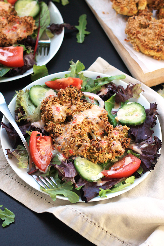 Crispy Baked Cauliflower Steaks - These panko crusted, oven baked cauliflower steaks will blow your taste buds away. You have to give them one a try!
