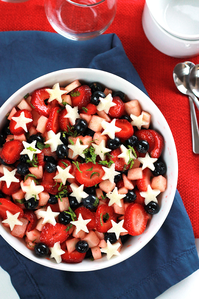 Sweet juicy strawberries, plump blueberries, and crisp jicama, together they make the perfect patriotic salad. This Strawberry, Blueberry, Jicama Salad is easy and deliciously healthy.