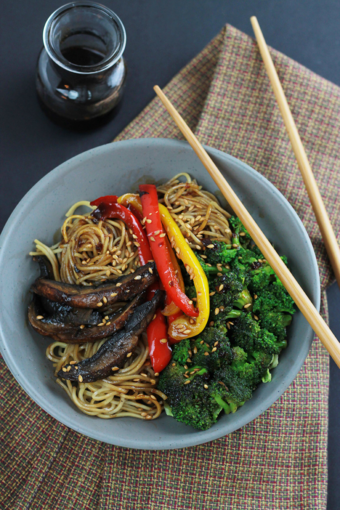 Above bowl of Spicy Ramen Vegetable Stir-Fry with chopsticks.