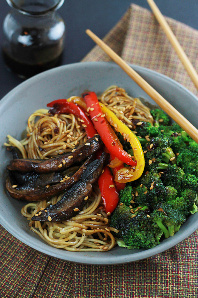 Bowl of Spicy Ramen Vegetable Stir-Fry with chopsticks.