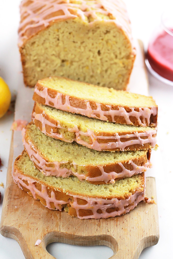 Lemon Loaf with Raspberry Sauce-The fresh sweet and tart flavors of raspberry and lemon pair together beautifully. This fresh treat is perfect for early mornings on the patio with a cup of coffee or tea.