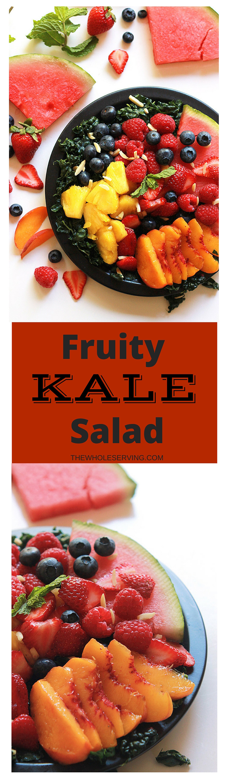 Sweet juicy fruit layered over gently massaged kale, dressed with poppy-seed dressing, this Fruity Kale Salad is loaded with flavor and nutritious goodness.