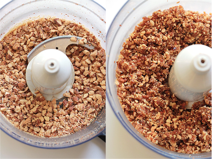 Almond and dates in food processor.