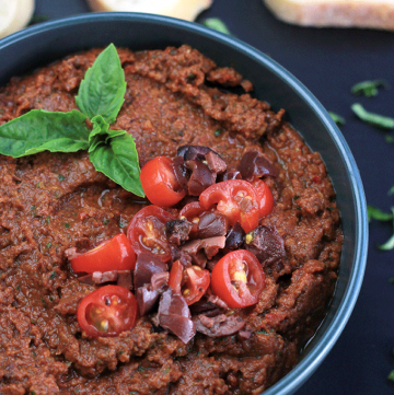 This Sun-Dried Tomato Tapenade is filled with nutrients like potassium, iron, thiamine, riboflavin, niacin and cell protecting oleic acid from the olives. Not only is it healthy, it's delicious.