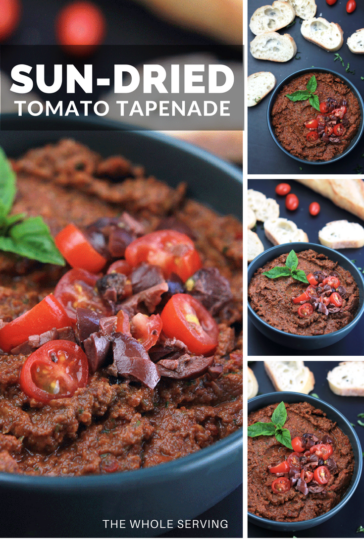 This Sun-Dried Tomato Tapenade is filled with nutrients like potassium, iron, thiamine, riboflavin, niacin and cell protecting oleic acid from the olives. Not only is it healthy, it's delicious