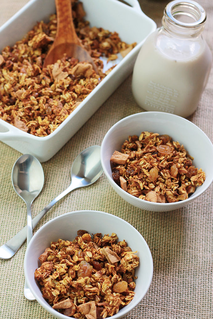 Pumpkin Apple Cinnamon Granola in bowls with milk bottle behind bowls.