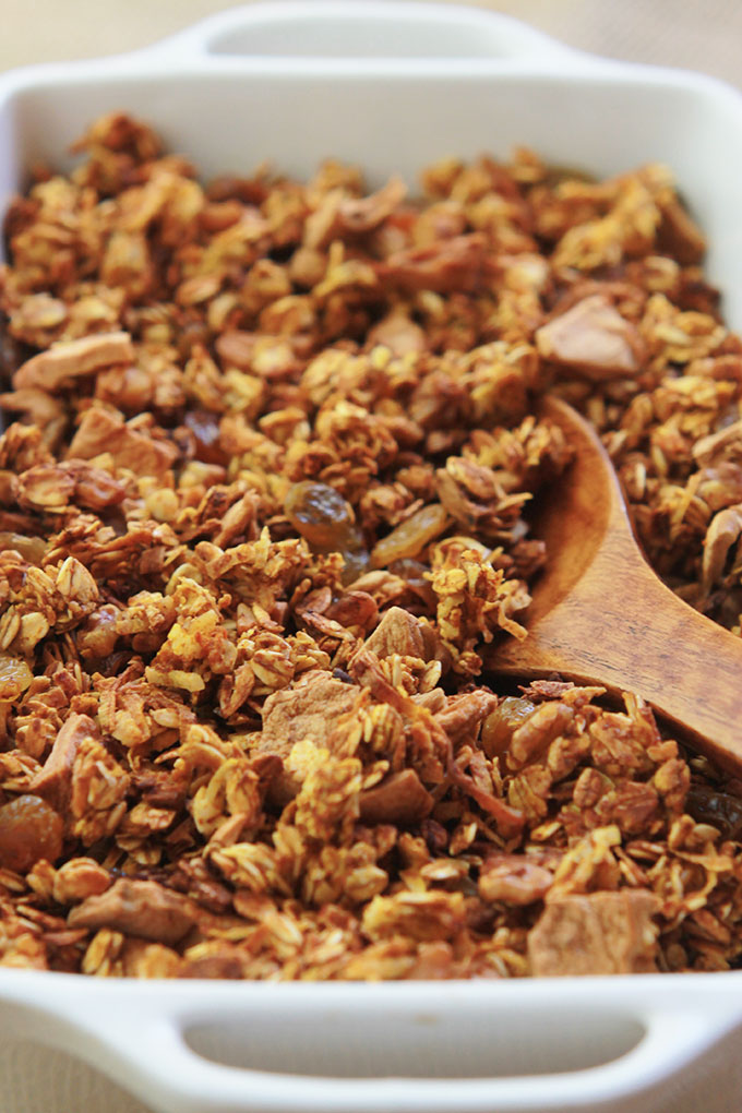 Wooden spoon scooping Pumpkin Apple Cinnamon Granola.