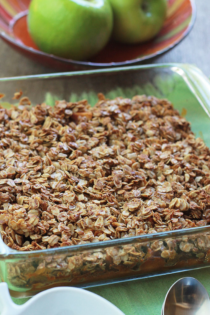 Glass pan withGluten-free baked Pumpkin apple crisp