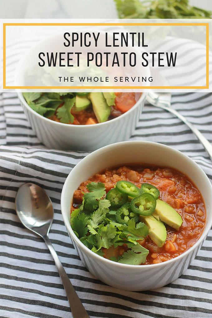 Hearty, comforting and delicious, this Spicy Lentil Sweet Potato Stew with a touch of jalapeño heat is perfect for those cold winter days.