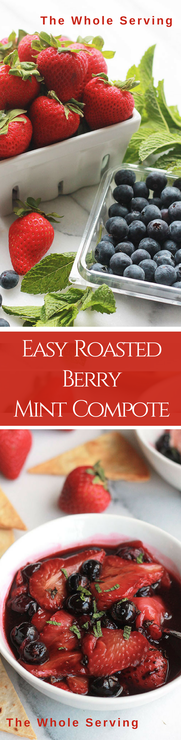 Easy Roasted Berry Mint Compote - Super easy, fruity and delicious! It's perfect for breakfast toppings, snacks desserts and so much more.