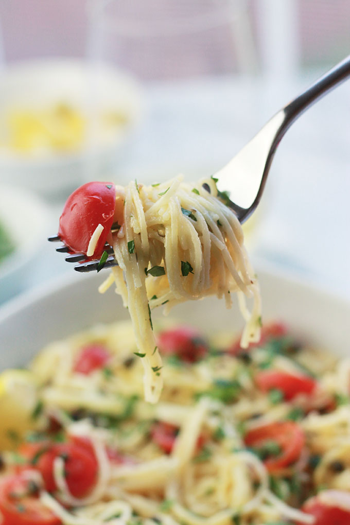 Delicate, delicious and oh-so easy! This Lemon Caper Pasta with Grape Tomatoes can be on the table in less than thirty minutes, perfect when you need a meal fast.