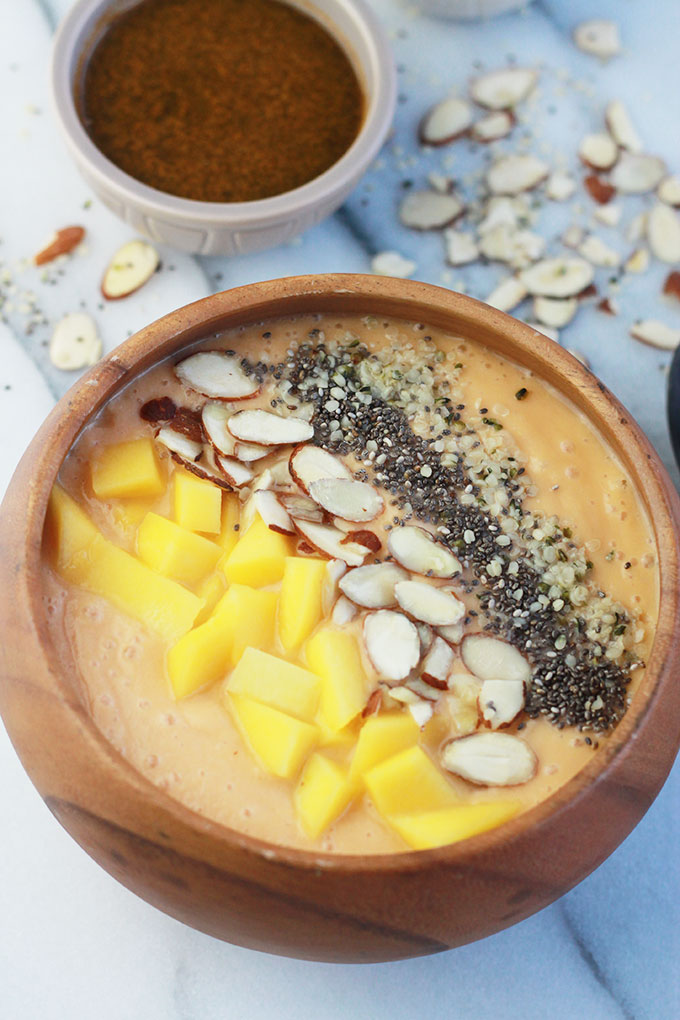 Mango Papaya Smoothie Bowl, gluten-free, soy-free and oil-free, one of the many delicious recipes you will find in Bold FLavored Vegan Cooking.