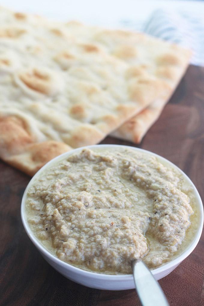 Naan flatbread and Char-Grilled artichoke pesto.
