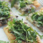 Mushroom Pizza with Artichoke Pesto and Aurgula