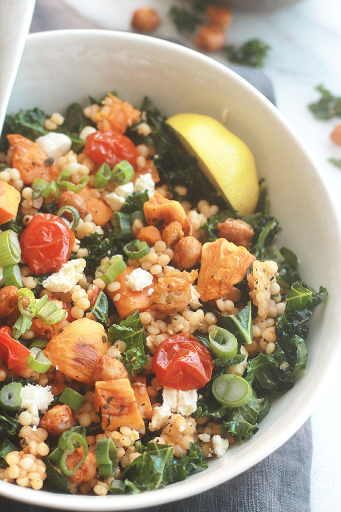 Ready for a supercharged, healthy, hearty salad? You're going to love this Israeli Couscous Kale Salad with Feta it's made with tenderIsraeli Couscous, roasted tomatoes, sweet potatoes and chickpeas tossed with seasoned fresh kale.