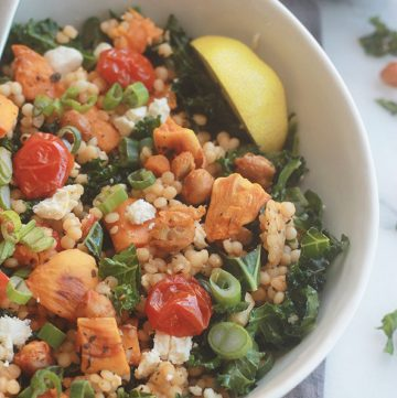 Ready for a supercharged, healthy, hearty salad? You're going to love this salad made with tenderIsraeli Couscous, roasted tomatoes, sweet potatoes and chickpeas tossed with seasoned fresh kale.
