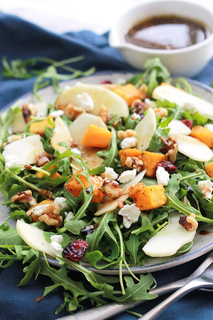 Plate of Butternut Apple Arugula Salad