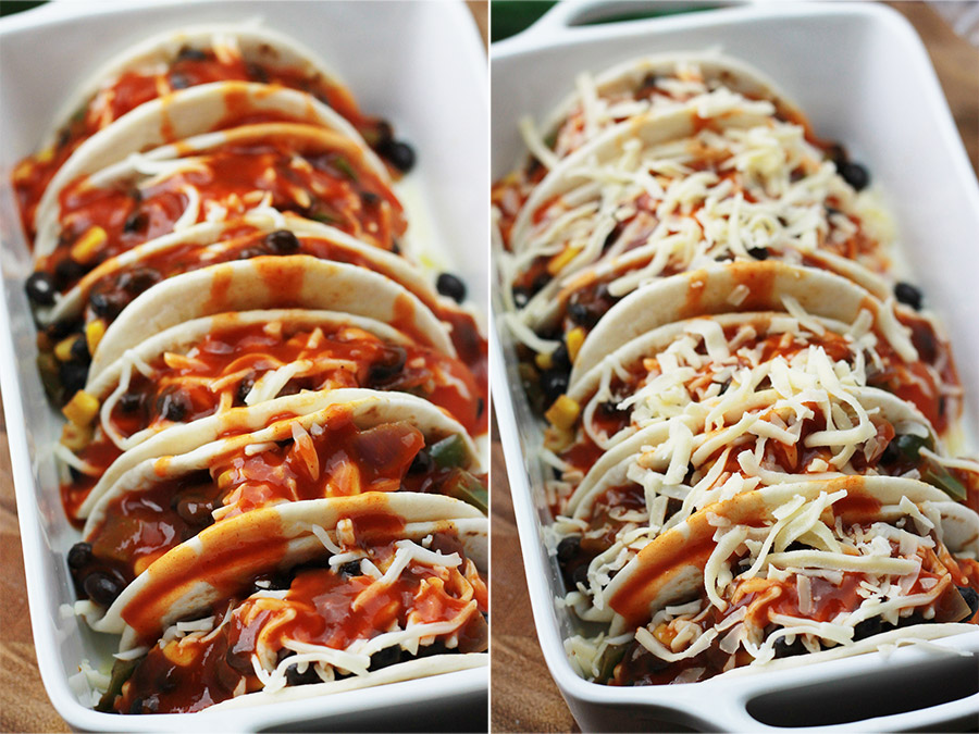 Baked Black Bean Tacos with Red Chile Sauce, unbaked and baked.