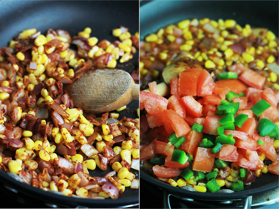 Onions, corn, tomatoes and jalapeno in skillet.