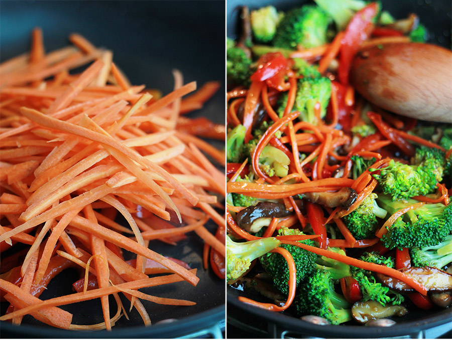 Sliced carrots with peppers in non-stick skillet and veggies tossed with teriyaki sauce in skillet.
