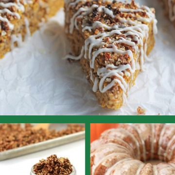 Collage of fall recipes that use pumpkin, apples, and cinnamon.
