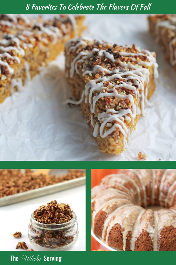 Collage of pumpkin, apple and cinnamon treats.