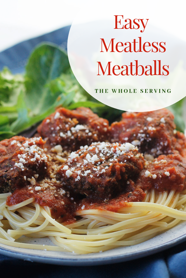 Easy Meatless Meatballs and pasta on a plate with salad.