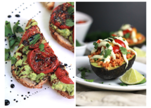 Split shot of avocado toast topped with roasted tomatoes on left side,vegan grain stuffed avocado.